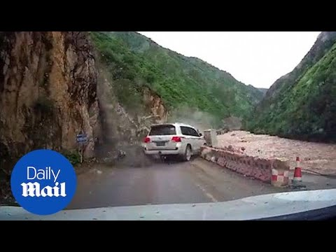 Terrifying Rockslide Almost Crushes Car On Narrow Mountain Road