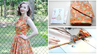 1950s Monkey Dress ☆ Project Vlog And Pattern Review // Vouge V8789