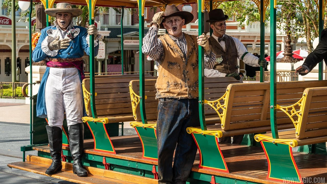 Cadaver Dans on Main Street U.S.A. trolley