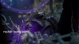 rocket raccoon being iconic for six minutes straight