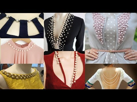 Latest fashion trends of beautiful neckline designs with laces and pearl most useful video