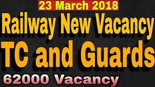 Railway TC Vacancy 23 March 2018 || TC Vacancy in railway ||