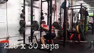 Athlete Squat 225 Pounds x 30 Reps