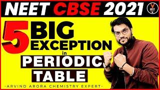 5 BIG Exception in Periodic Table | NEET 2021 Preparation | NEET Chemistry | Arvind Arora