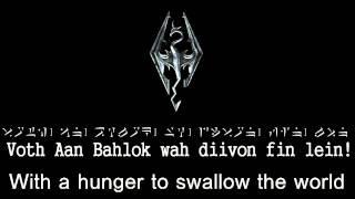 Skyrim Main theme with Lyrics (Dragon and English)