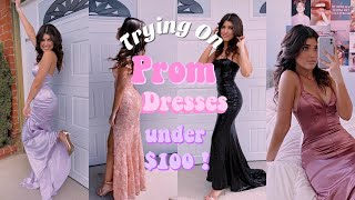 TRYING ON PROM DRESSES UNDER $100! FT Lulus