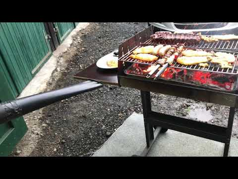 How to Second coal light up like a Boss with leaf blower Barbeque fire the grill a second time DIY