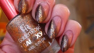 Brown & Glitter Nail Art - Brąz I Brokat - Wzorek Na Paznokcie - Basevehei