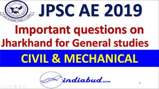 Expected MCQ Questions of Jharkhand in General Studies paper for JPSC Assistant Engineer exam