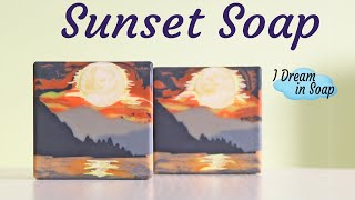 Sunset Landscape Cold Process Soap, Sculpted Layers Cold Process Soap Making Tutorial.