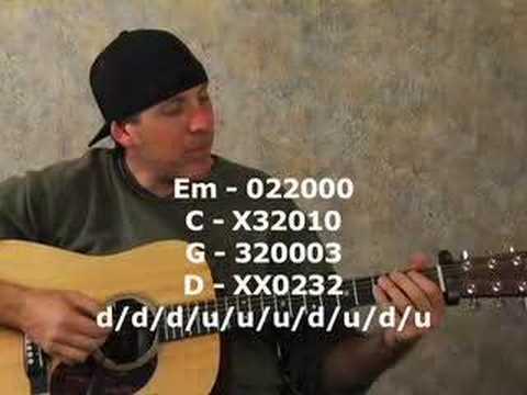 Beginner acoustic guitar lesson on strumming chords rhythms