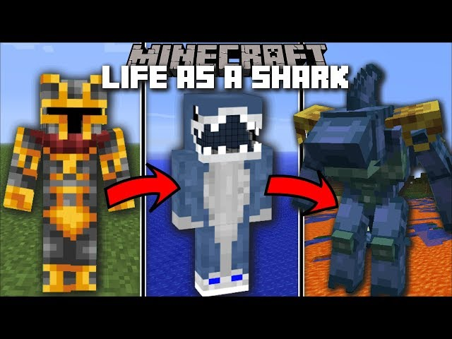 Minecraft LIFE AS A SHARK MOD / FIGHT AND BECOME AQUATIC GIANT BEAST!! Minecraft