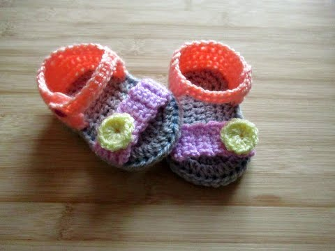 """How to crochet Baby Sandals - Happy Crochet Club tutorial sole 3-6 months 4"""""""