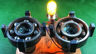 Electric Free Energy Light Bulb With Magnets Using DC Motor New technology idea Project