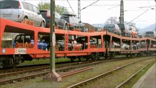 preview picture of video 'Dispolok-Tauri ES 64 U2 070 und 072 rangieren am Autozugterminal Lörrach'