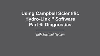 campbell scientific hydro-link part 6 : diagnostiques