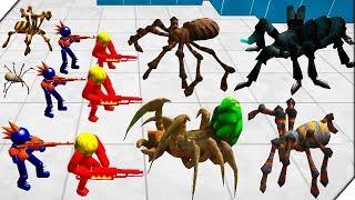 АТАКА ГОЛОДНЫЙ ПАУКОВ - Батл Симулятор  Пауки и Стикмен  Stickman Spider Battle Simulator