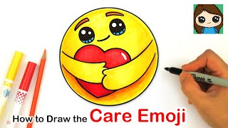 How To Draw The Care Emoji Hugging A Heart ❤️| Facebook Covid19 Awareness