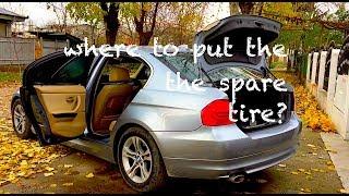 BMW e90 Where to put the spare tire ?! Problem SOLVED !