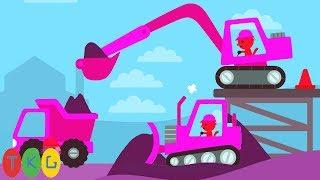 Xe Xúc Đất, Xe Ủi Đất, Xe Tải, Xe Công Trình màu hồng | Construction Vehicles Video for Kids | TKG