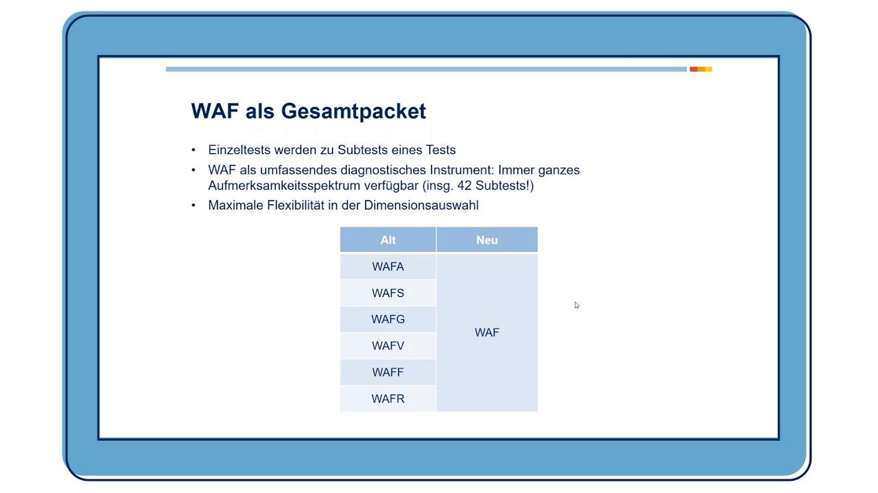 Wahrnehmungs- und Aufmerksamkeitsfunktionen-Batterie (WAF)