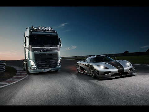 Volvo Truck vs. Koenigsegg Track Battle