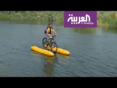 العرب اليوم - دراجات هوائية للمرة الأولى فوق مياه نهر النيل