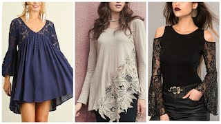 Womens Light Weight Chiffon Blouses With Lace Designing