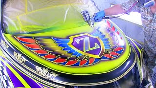 How to Custom Paint Graphics and Flake painting / Car Painting Ideas / カスタムペイント