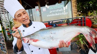 Eating GIANT RIVER FISH!! 🌶️ Spicy Thai Food with Mekong River Chef! 👨🍳