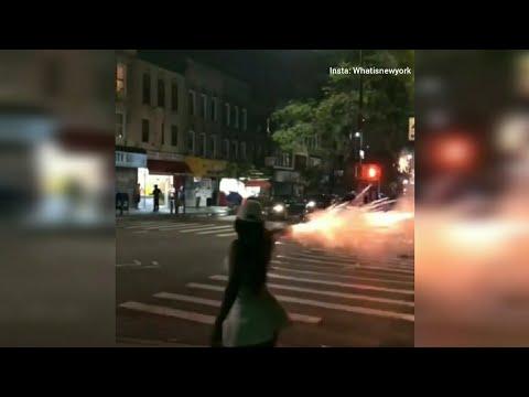 Girl shoots up the neighborhood with fireworks