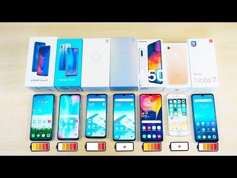 КТО ПРОТЯНЕТ ДОЛЬШЕ? Samsung Galaxy A50, Xiaomi Mi 9, Mi 9 SE, Redmi Note 7, iPhone 7, Honor View 20