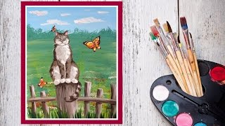Смотреть онлайн Рисуем гуашью: Котик на заборе