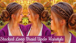Updo Hairstyle With Stacked Lace Loop Braid | Braids & Messy Bun