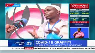 Youth in Kayole using wall murals to create awareness on COVID-19