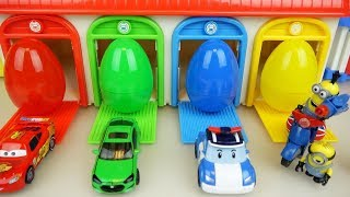 Cars Poli and Minions toys with surprise eggs house play
