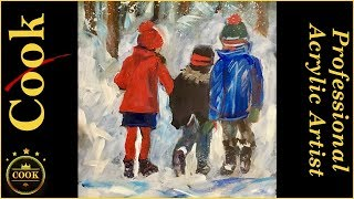 Painting Children Walking in The Snow in Acrylics with Ginger Cook | Kholo.pk