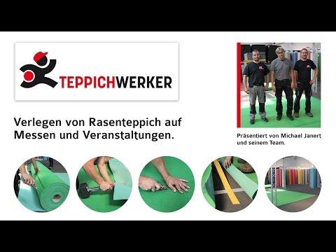 2D Film: Verlegen von Rasenteppich auf Messen & Events - Teppichwerker.de