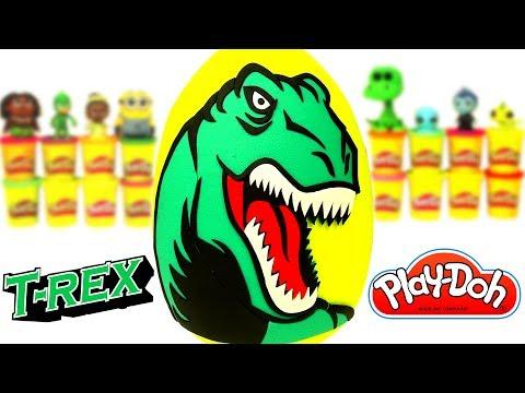 Huevo Sorpresa Gigante del Dinosaurio Tiranosaurio Rex en Español de Plastilina
