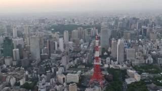 ヘリコプター4K動画撮影・夕景の東京上空にて