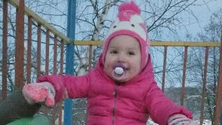 Lile Playing In The snow - Cute Baby  loves snow