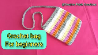 Crochet easy and simple bag for absolutely beginners by Creative Palak Creations, hdc stitches.