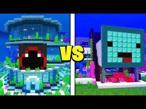 Skeppy vs BadBoyHalo UNDERWATER House Battle! - Minecraft