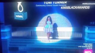 Tori Turner Accepts the McDonald's 365 Black Award