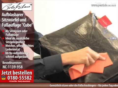 "Carlo Milano Aufblasbarer Sitzwürfel & Fußauflage ""Cube"" im Leder-Look"
