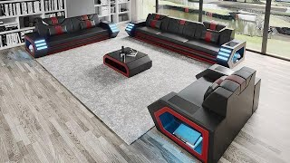 Steffi Leather Sofa Set With LED Light - Modern Sofa Couch -  From Jubilee Furniture