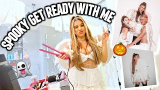 Spooky Get Ready With Me For Halloween! CHARLIE'S ANGELS ARIANA GRANDE COSTUME