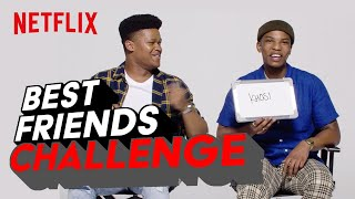 Fighting for the same girl in the show, but fighting for each other's hearts IRL. Watch as #Dillon and #Thabang play a new round of the Best Friends Challenge!  #BloodAndWater is now streaming  Subscribe: https://bit.ly/2SpsrJ1  About Netflix: Netflix is the world's leading streaming entertainment service with 183 million paid memberships in over 190 countries enjoying TV series, documentaries and feature films across a wide variety of genres and languages. Members can watch as much as they want, anytime, anywhere, on any internet-connected screen. Members can play, pause and resume watching, all without commercials or commitments.  https://www.twitter.com/netflixSA https://www.instagram.com/NetflixSA https://www.Facebook.com/NetflixSouthAfrica  Dillon and Thabang play the Best Friend Challenge   Blood and Water   Netflix https://youtube.com/NetflixSouthAfrica  After crossing paths at a party, a Cape Town teen sets out to prove whether a private-school swimming star is her sister who was abducted at birth.