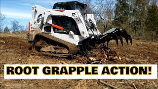Clearing Land with a Grapple & Bobcat T650 for future food plot for deer