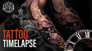 Tattoo Timelapse: Realism In Black And Gray – Dove, Roses And Cross, Classic Tattoo